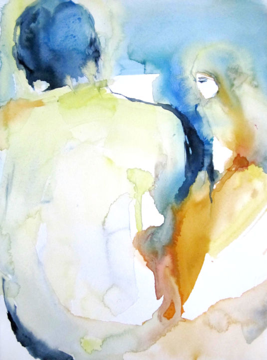 Point de vue - Painting,  15x11 in, ©1200 by Sylvia Baldeva -                                                                                                                                                                                                                                                                                                                                                                                                                                                                                                                                                                                                                                                                                                                                                                                                                                                                                                                                                                                                                                                                                              Abstract, abstract-570, Abstract Art, Men, People, Women, couple, man, woman, homme, femme, watercolor, aquarelle, sylvia baldeva, peinture, painting, work on paper, canson, orange, bleu, blue, yellow, jaune