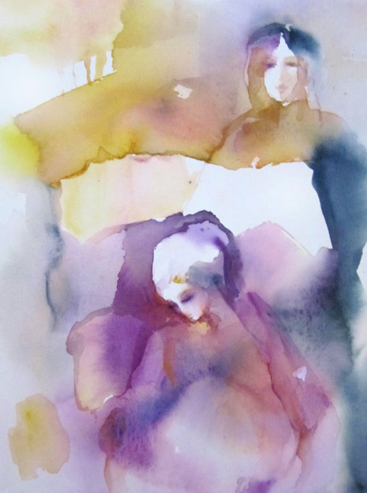 Protection - Painting,  15x11 in, ©2018 by Sylvia Baldeva -                                                                                                                                                                                                                                                                                                                                                                                                                                                                                                                                                                                                                                                                                                                                                                                                                                                                                                                                                                                                      Abstract, abstract-570, Abstract Art, People, Women, women, femmes, portrait, pink, rose, purple, violet, jaune, yellow, green, vert, sylvia baldeva, painting, peinture, work on paper, canson