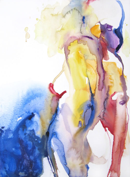 To the sea - Painting,  15x11 in, ©2017 by Sylvia Baldeva -                                                                                                                                                                                                                                                                                                                                                                                                                                                                                                                                                                                                                                                                                                                                                                                                                                                                                                                                                                                                                                                                                                                                                                                                                                  Expressionism, expressionism-591, Body, Nude, Water, Women, back, body, nude, nu, corps, dos, woman, femme, sylvia baldeva, watercolor, aquarelle, yellow, jaune, bleu, blue, red, rouge, work on paper, œuvre sur papier, canson