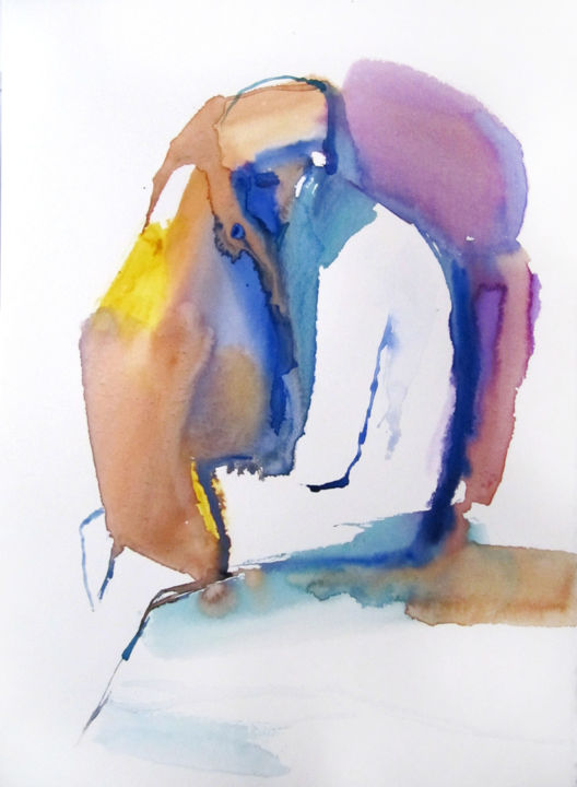 Sentiment bleu - Painting,  15.8x11.8 in, ©2017 by Sylvia Baldeva -                                                                                                                                                                                                                                                                                                                                                                                                                                                                                                                                                                                                                                                                                                                                                                                                                                                                                                                                                                                                                                                                                                                                                                                      Expressionism, expressionism-591, Body, Men, People, Portraits, feeling, sentiment, portrait, man, watercolor, aquarelle, blue, bleu, violet, yellow, jaune, blanc, white, sylvia baldeva, painting, peinture, work on paper, œuvre sur papier, canson