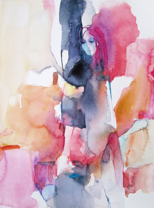 Voyageuse - Painting,  15x11 in, ©2018 by Sylvia Baldeva -                                                                                                                                                                                                                                                                                                                                                                                                                                                                                                                                                                                                                                                                                                                                                                                                                                                                                                                                                                                                                                                                                                                                          Expressionism, expressionism-591, Abstract Art, Fairytales, Travel, Women, woman, travel, voyage, femme, rose, pink, red, rouge, orange, gris, grey, watercolor, aquarelle, peinture, painting, work on paper, œuvre sur papier, canson