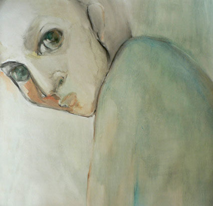 Fixer - Painting,  39.4x39.4x1.2 in, ©2010 by Sylvia Baldeva -                                                                                                                                                                                                                                                                                                                                                                                                                                                                                                                                                                                                                                                                                                                                                                                                                                                                                                                                                          Expressionism, expressionism-591, Portraits, People, fixer, visage, dévisager, yeux, vert, portrait, huile, huile sur toile, expression, green, eyes, face, oil on canvas, sylvia baldeva, painting, peinture