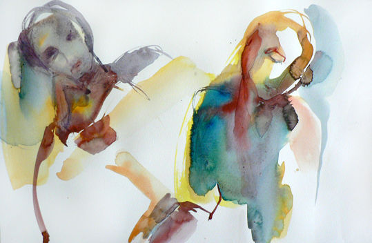 Discorde - Painting,  12.6x19.7 in, ©2010 by Sylvia Baldeva -                                                                                                                                                                                                                                                                                                                                                                                                                                                      Expressionism, expressionism-591, People, couple, aquarelle, homme, femme, personnes, sylvia baldeva