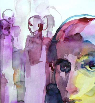 Complot - Painting,  11.8x11.8 in, ©2010 by Sylvia Baldeva -                                                                                                                                                                                                                                                                                                                                                                                                                                                                                                                                                                                          Expressionism, expressionism-591, People, complot, aquarelle, visage, personnages, rose, violet, sylvia baldeva, art, watercolor