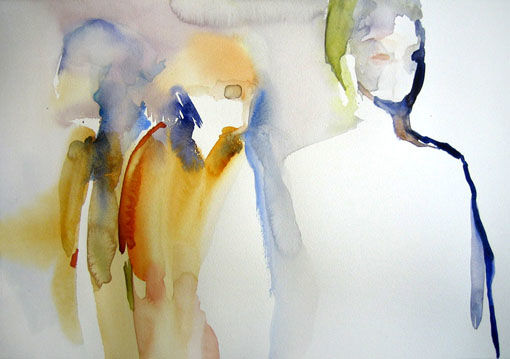 Emerger - Painting,  12.6x19.7 in, ©2010 by Sylvia Baldeva -                                                                                                                                                                                                                                                                                                                                                                                                                                                                                                                                                                                                                                      Expressionism, expressionism-591, People, apparition, apparaitre, émerger, groupe, personnages, aquarelle, watercolor, sylvia baldeva, art, moderne