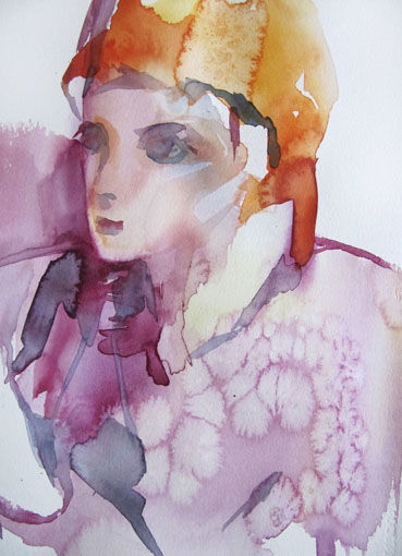 Rêver - Painting,  17.7x12.6 in, ©2010 by Sylvia Baldeva -                                                                                                                                                                                                                                                                                                                                                                                                                                                                                                  Expressionism, expressionism-591, People, rêver, pensif, mauve, aquarelle, watercolor, personnage, sylvia baldeva