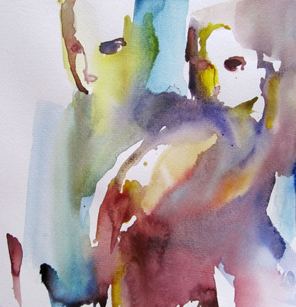 Couple - Painting,  11.8x11.8 in, ©2010 by Sylvia Baldeva -                                                                                                                                                                                                                                                                                                                                                                                                                                                                                                                                                                                                                                                                                  Expressionism, expressionism-591, People, couple, direction, dirigés, regards, regarder, intensité, intense, aquarelle sur papier, watercolor, sylvia baldeva, art