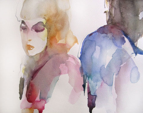 Rancune - Painting,  12.6x19.7 in, ©2011 by Sylvia Baldeva -                                                                                                                                                                                                                                                                                                                                                                                                                                                                                                                                                                                                                                                                                  Expressionism, expressionism-591, People, rancune, couple, aquarelle, watercolor, sylvia baldeva, feelings, sentiment, psychologie, painting, canson, paper