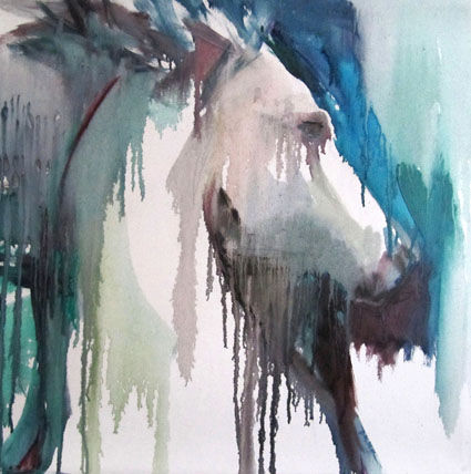 Profil cheval - Painting,  19.7x19.7x0.8 in, ©2011 by Sylvia Baldeva -                                                                                                                                                                                                                                                                                                                                                                                                                                                                                                                                                                                                                                                                                                                                                                                                                      Expressionism, expressionism-591, Animals, Portraits, cheval, profil, équestre, expressionisme, huile sur toile, sylvia baldeva, art, portrait, animal, horse, oil on canvas, painting, peinture