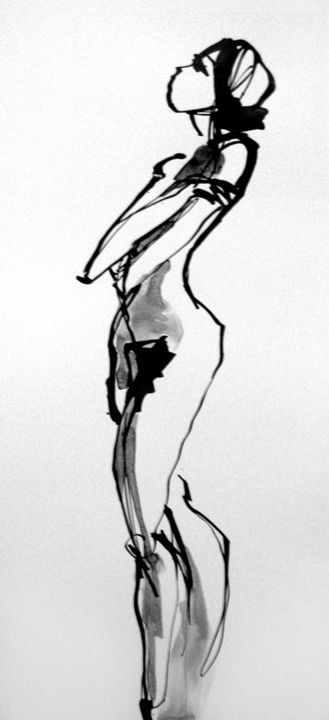 Nue - Drawing,  19.7x11.8 in, ©2010 by Sylvia Baldeva -                                                                                                                                                                                                                                                                                                                                                                                                                                                                                                                                              Expressionism, expressionism-591, Black and White, nu, nue, femme, corps, pudique, personnage, noir et blanc, encre de chine