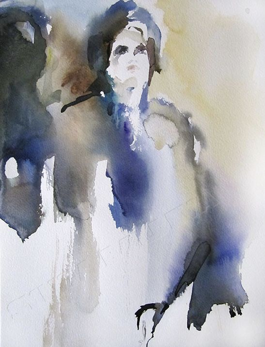 Inspiration - Painting,  12.6x9.5 in, ©2014 by Sylvia Baldeva -                                                                                                                                                                                                                                                                                                                                                                                                                                                                                                                                                                                          Expressionism, expressionism-591, People, spirituel, femme, personnage, inspiré, inspiration, aquarelle, expressionnisme, bleu, sylvia baldeva