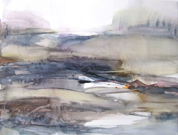 Paysage - Painting,  9.5x12.6 in, ©2014 by Sylvia Baldeva -                                                                                                                                                                                                                                                                                                                                                                                                                                                                                                  Expressionism, expressionism-591, Landscape, paysage, bleu, gris, canson, aquarelle, expressionnisme, sylvia baldeva