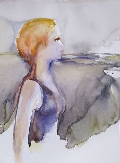 Imagine - Painting,  32x24x0.1 cm ©2014 by Sylvia Baldeva -                                                                                                                                                Realism, Symbolism, Expressionism, Figurative Art, Illustration, Modernism, Paper arts, Portraiture, Paper, Spirituality, vision, femme, paysage, aquarelle, watercolor, sylvia baldeva, canson, imagination, symbolism, art, fine arts, beaux arts, painting, peinture, watercolour, emotion, original, œuvre d'art, paperwork, papier