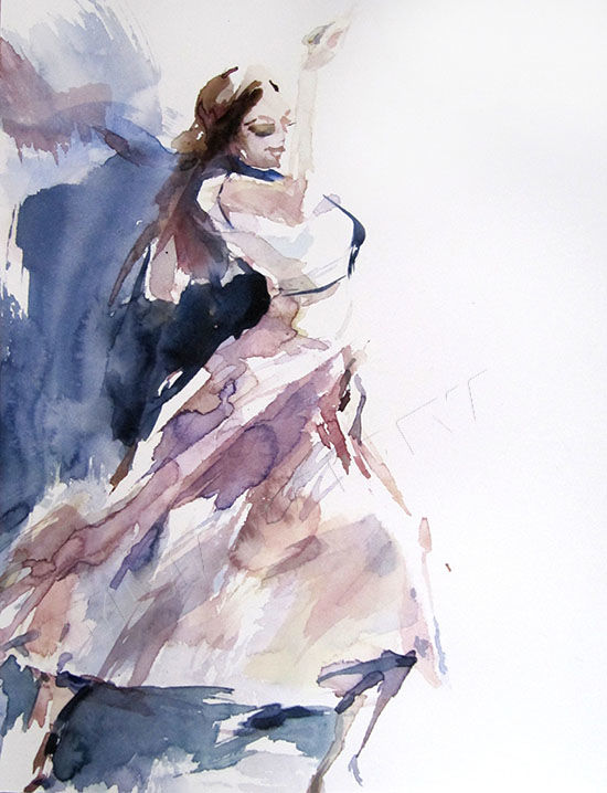 Danseuse espagnole - Painting,  12.6x9.5 in, ©2014 by Sylvia Baldeva -                                                                                                                                                                                                                                                                                                                                                                                                                                                                                                                                                                                                                                                                                                                                                                                                                                                                                                                                                                                                                                                                                                                                          Expressionism, expressionism-591, Performing Arts, Women, danse, danseuse, espagnole, aquarelle, spanish, watercolor, watercolour, painting, peinture, art, paperwork, paper, canson, original, emotion, dance, dancer, fine art, beaux art, sylvia baldeva