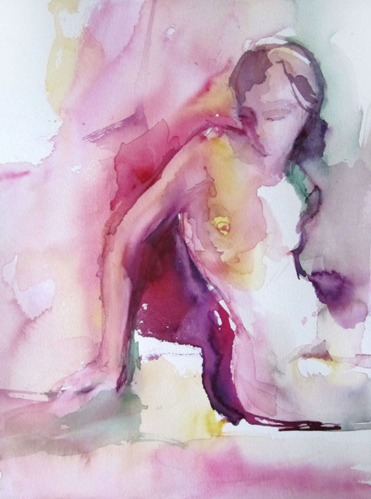 La vie en rose ... - Painting,  38x28x0.1 cm ©2016 by Sylvia Baldeva -                                                                                                            Abstract Expressionism, Expressionism, Modernism, Portraiture, Realism, Paper, Nude, nude, body, woman, naked, model, pink, rose, watercolor, watercoulor, aquarelle, papier, art, fine arts, beaux arts, paperwork, œuvre d'art, emotion, original, pose, peinture, painting