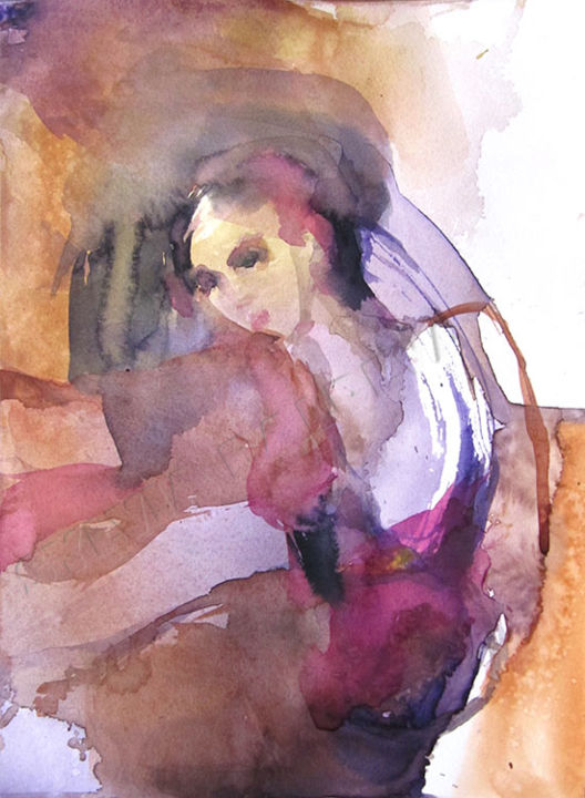 Corps en mouvement - Painting,  12.6x9.5 in, ©2014 by Sylvia Baldeva -                                                                                                                                                                                                                                                                                                                                                                                                                                                                                                                                                                                                                                                                                                                                                                                                                                                                                                                                                                                                                                                                                                                                                                                      Abstract, abstract-570, Body, People, Women, danse, dance, dancer, danseuse, rose, woman, femme, body, corps, mouvement, art, fine art, beaux arts, sylvia baldeva, watercolor, watercolour, aquarelle, expressionism, abstract, original