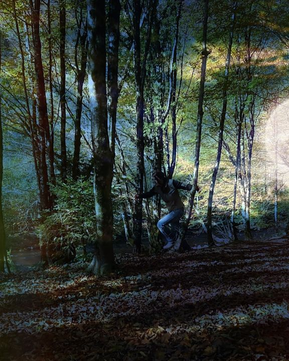 """Photography titled """"forest night"""" by Ban*S, Original Art, Manipulated Photography"""