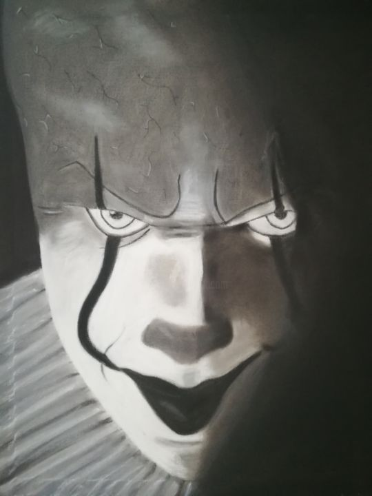 Pennywise - Drawing,  50x40x1.4 cm ©2017 by Annette Barbier -                            Canvas, Toile clown