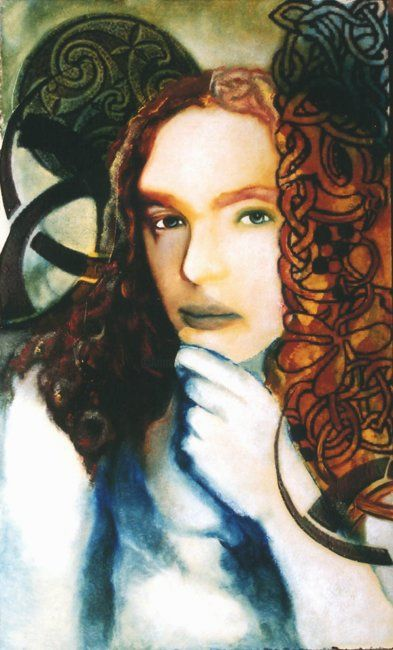 Celtic - Painting,  15.8x9.5 in, ©2007 by Barbara E.Lezmy -