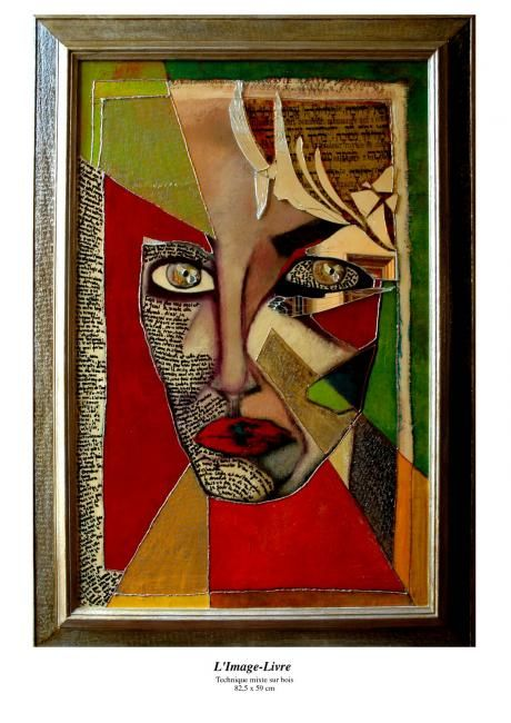Image-Livre - Painting,  34.3x29.5 in, ©2005 by Barbara E.Lezmy -