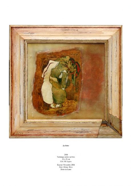 La Lettre - Painting,  16.9x15.8 in, ©2004 by Barbara E.Lezmy -