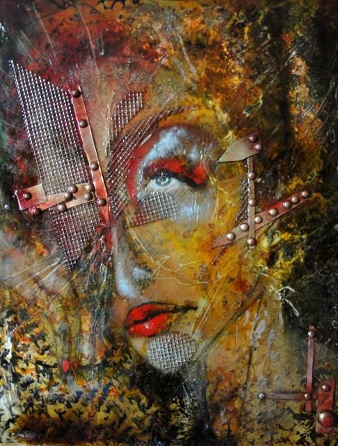Nabi casqué d'or ou Dame de fer - Painting,  24x19.7 in, ©2011 by Barbara E.Lezmy -