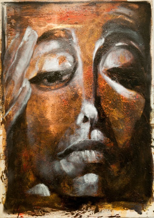 Sans titre - Painting,  41.7x29.9 in, ©2014 by Barbara E.Lezmy -                                                                                                                                                                                                                                                                                                                                                                                                          Figurative, figurative-594, Wood, Paper, Barbara Lezmy, Galerie Médiart, art, artiste