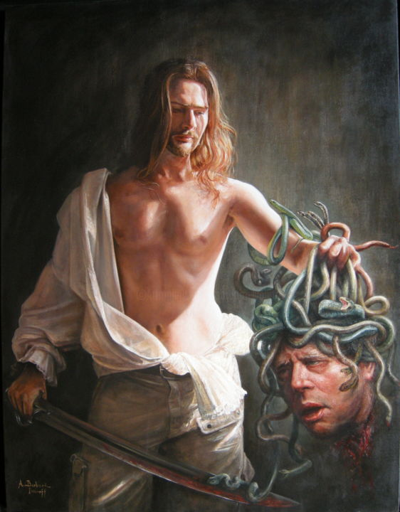 Hommage à Odd Nerdrum / Tribute to Odd Nerdrum - Painting,  116x89 cm ©2010 by Alexandre Barberà-Ivanoff -                                                                                                                                                                                                                                                        Conceptual Art, Figurative Art, Classicism, Contemporary painting, Symbolism, Canvas, Animals, Body, Culture, Pop Culture / celebrity, World Culture, History, Men, Light, Mortality, Portraits, Religion, Spirituality, Education