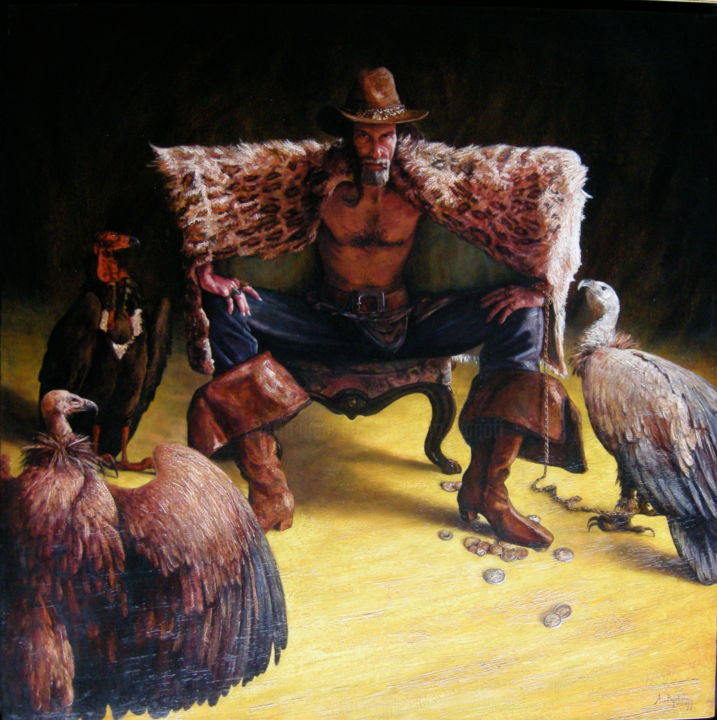 Le vautour - Painting,  130x130 cm ©2006 by Alexandre Barberà-Ivanoff -                                                                                                                                                Conceptual Art, Figurative Art, Contemporary painting, Portraiture, Symbolism, Canvas, Light, Mortality, Portraits, Spirituality, Vautou, Vulture, El buitre, oiseaux, bottes, chaise, pièces, argent, money