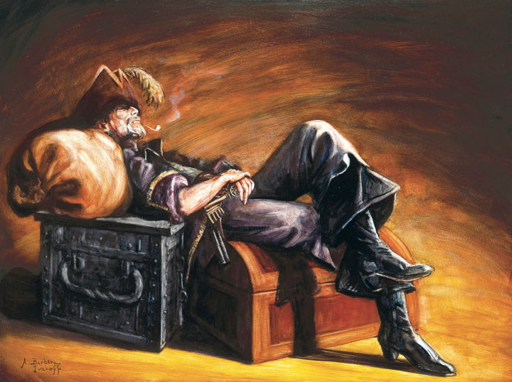 "Etude pour ""La retraite"" - Painting,  50x70 cm ©2006 by Alexandre Barberà-Ivanoff -                                                                                                Conceptual Art, Figurative Art, Contemporary painting, Wood, Men, People, pipe, chapeau, coffres, bottes"