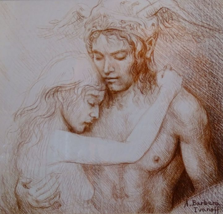 Hermès amoureux - Drawing,  6.7x6.7 in, ©2016 by Alexandre Barberà-Ivanoff -                                                                                                                                                                                                                                                                                                                                                                                                                                                                                                                                                                                          Figurative, figurative-594, Classical mythology, Spirituality, Love / Romance, People, Hermès, Mercure, Amour, Love, amoureux, Valentin