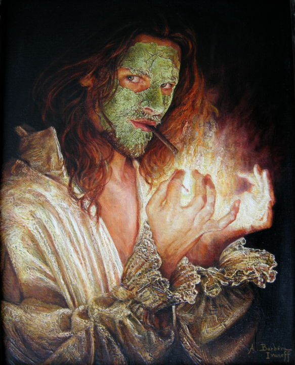 Autoportrait au masque de beauté - Painting,  60x50 cm ©2006 by Alexandre Barberà-Ivanoff -                                                                                                            Conceptual Art, Figurative Art, Contemporary painting, Portraiture, Symbolism, Canvas, People, Argile, portrait, cigarette, mains, feu, chemise, masque
