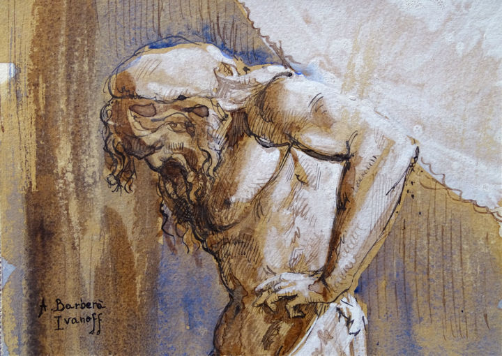 Etude pour Les Atlantes - Drawing,  5.1x7.1 in, ©2017 by Alexandre Barberà-Ivanoff -                                                                                                                                                                                                                                                                                                                                                                                                                                                      Figurative, figurative-594, Men, Classical mythology, People, Atlante, mythologie, titan, Atlas