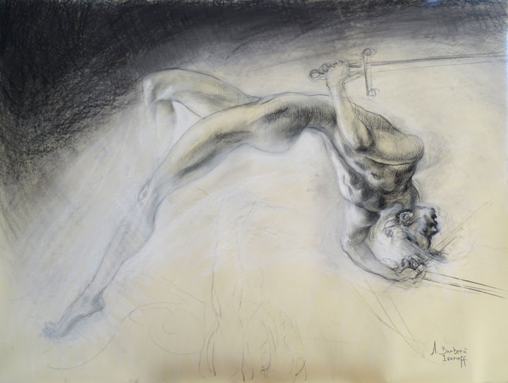 Gamma - Drawing,  35.4x47.2 in, ©2019 by Alexandre Barberà-Ivanoff -                                                                                                                                                                                                                                                                                                                                                                                                                                                                                                  Figurative, figurative-594, Angels, Aerial, Body, Religion, Spirituality, ange, torsion, épée