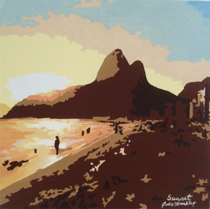 Sunset.jpg - Painting, ©2016 by Adri Barbieux -                                                                                                                                                                                                                                                                                                                                                                                  landscape, leblon, rio, view, mountain, ipanema, wall, decoration