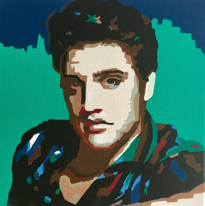 Elvis - Painting,  7.9x7.9x1.6 in ©2018 by Adri Barbieux -            elvis, presley, man, famous, wall, decor