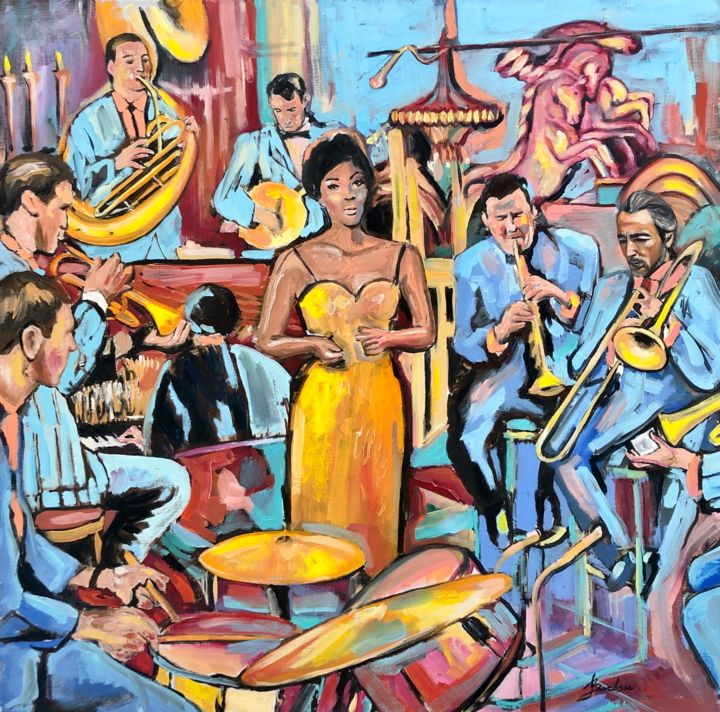 Musicians Painting, oil, impressionism, artwork by Barbara Safronova (Barbsie)