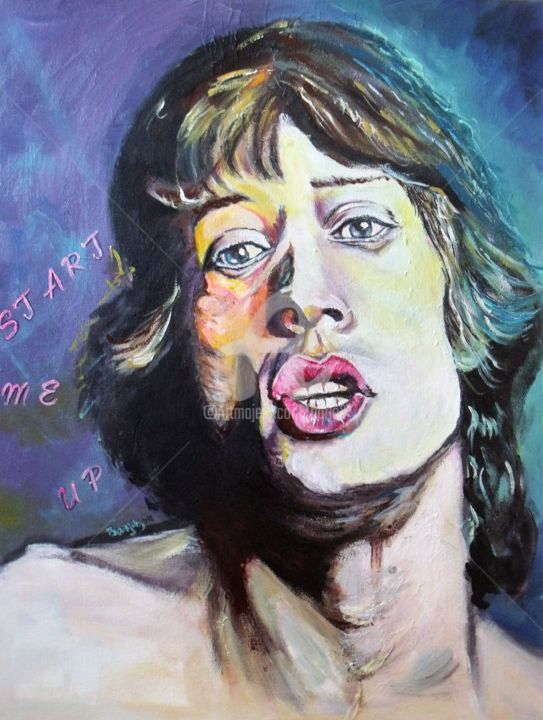 Mick Jagger (Start Me Up) - Painting,  25.6x19.7x0.8 in, ©2018 by barjo3 -                                                                                                                                                                                                      Pop Culture / celebrity, PopArt, couleur, rolling stones
