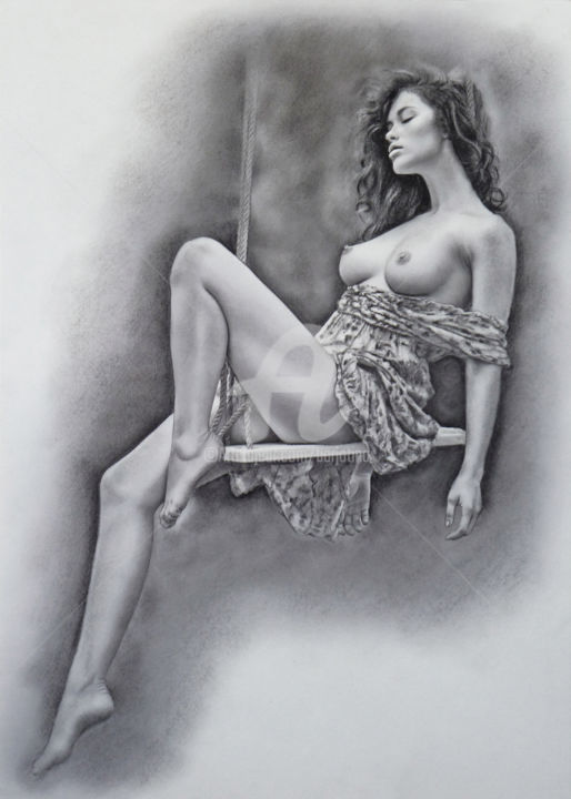 Draw erotic art with color pencil