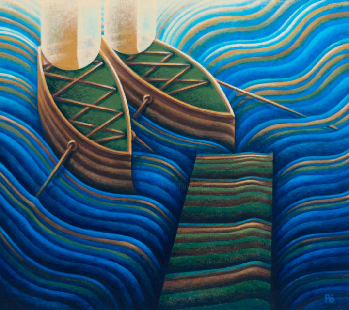 Welcome ('16 Re-Edit) - Painting,  15.8x17.7x0.2 in, ©2016 by Barna -                                                                                                                                                                                                                                                                                                                                                                                                                                                                                                                                                                                                                                                                                                                                                                                                                                                                                                                                                                                                                                                                                                  Surrealism, surrealism-627, Carbon Fiber, Fantasy, Nature, Religion, Sailboat, Seascape, water, see, waves, blue, light, boats, ships, shoes, welcome, enter, atthedoor, seascape, entrance, doormat, nature