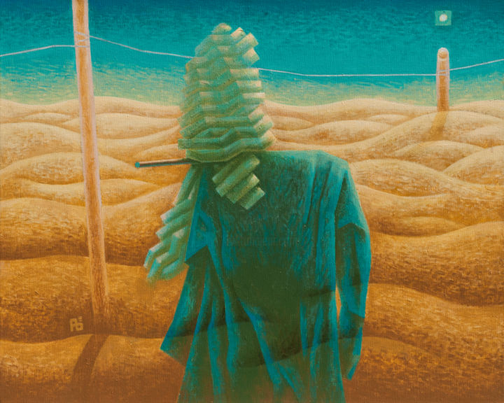 Bogey II - Painting,  15.8x19.7x0.4 in, ©2016 by Barna -                                                                                                                                                                                                                                                                                                                                                                                                                                                                                                                                                                                                                                                                                                                                                                                                                                                                                                                                                                                                                                                                                              Figurative, figurative-594, Body, Fantasy, Landscape, Light, Time, bogey, scarecrow, transparent, desert, dunes, yellow, finger, light, refugee, migrant, fence, perspective, horizon, drapery, orange, turquoise