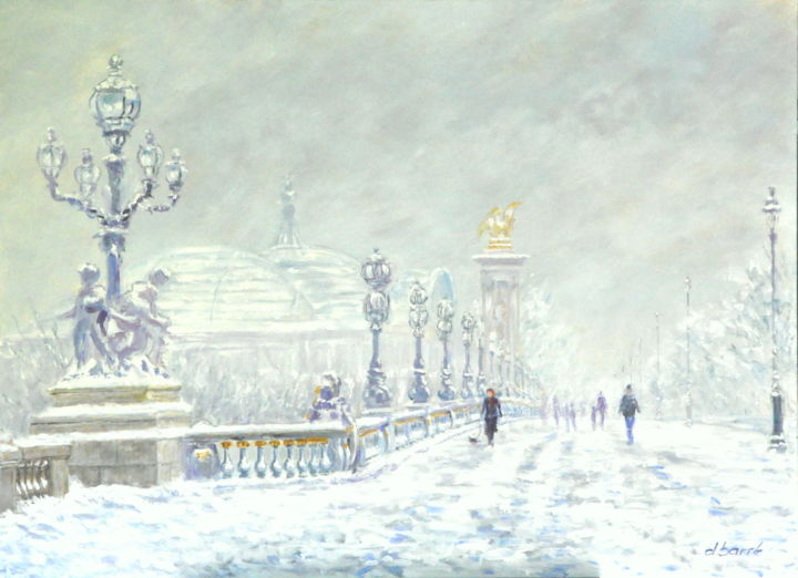 daniel barre artiste peintre paris pont alexandre iii neige 100 x 73 daniel barr. Black Bedroom Furniture Sets. Home Design Ideas