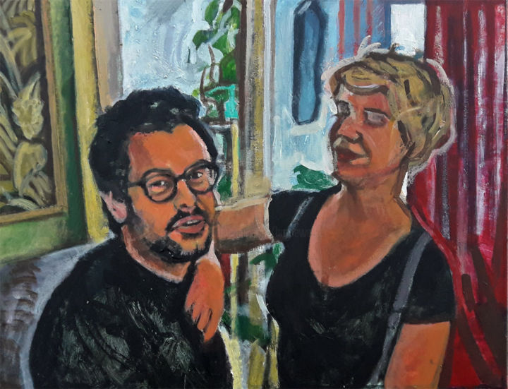 Le philosophe et l'urbaniste - Painting,  50x61 cm ©2018 by Barrie Walker -                                                                        Portraiture, Canvas, Interiors, Portraits, double portrait, couple dans un intérieur