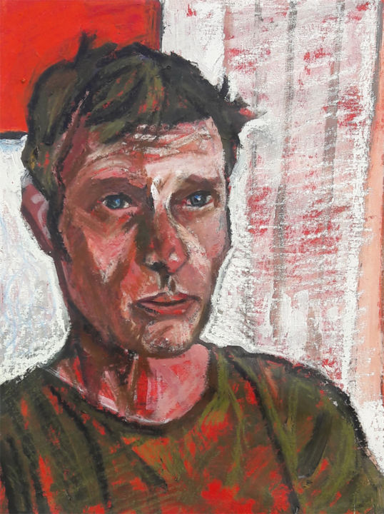 Ralph Resch, peintre - Painting,  61x46 cm ©2018 by Barrie Walker -                                                            Portraiture, Canvas, Portraits, portrait d'homme, portrait d'un peintre