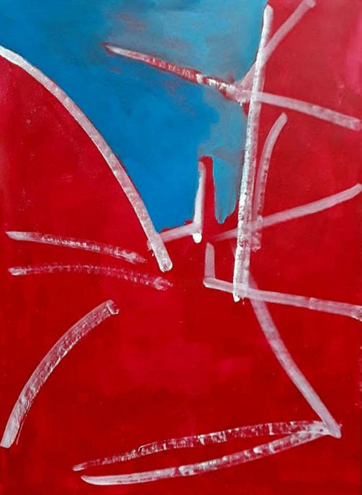 Place du marché - Painting,  81x60 cm ©2018 by Barrie Walker -                                                            Abstract Art, Canvas, Abstract Art, Paysage urbain abstrait, Bleu Blanc Rouge, Expressionnisme abstrait