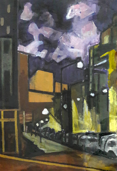Urban Nightscape - Painting,  81x54 cm ©2018 by Barrie Walker -                                                            Expressionism, Canvas, Cityscape, Paysage urbain expressionniste, Paris atypique, Ambiance soir