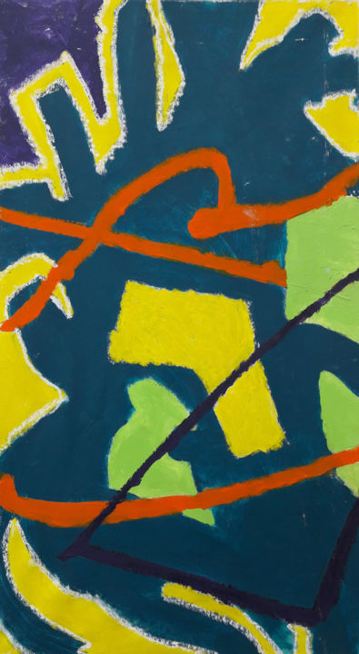 Gaie guerre, panneau 1 - Painting,  90x50 cm ©2019 by Barrie Walker -                                                            Abstract Art, Canvas, Spirituality, Triptyque, Composition abstraite