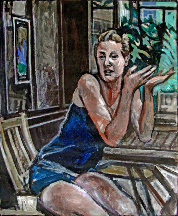 L'expliqueuse - Painting,  25.6x21.3 in, ©2019 by Barrie Walker -                                                                                                                                                                                                                                                                                                                  Expressionism, expressionism-591, Women, Jeune femme, Gestes expressifs, ambiance terrasse de café