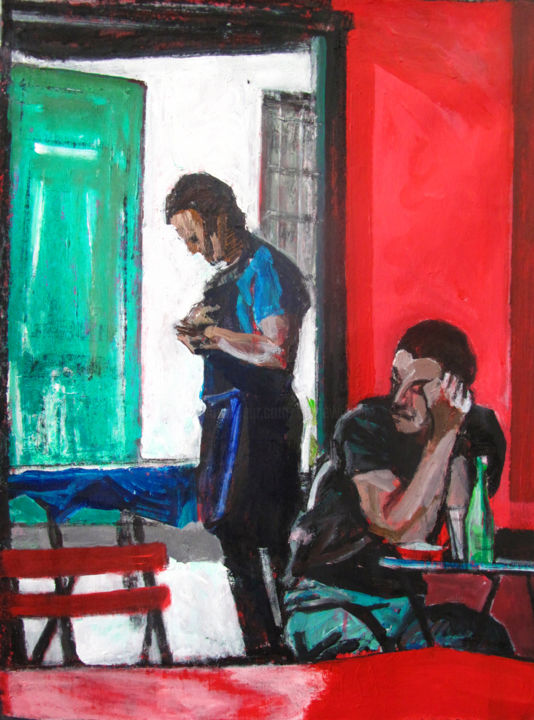Dos à dos - Painting,  28.7x21.3 in, ©2019 by Barrie Walker -                                                                                                                                                                                                                                                                                                                  Expressionism, expressionism-591, Men, Ambiance café, ambiance été, ambiance rouge