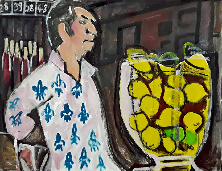 Un destin de citrons - Painting,  18.1x24 in, ©2019 by Barrie Walker -                                                                                                                                                                                                                                                                                                                  Expressionism, expressionism-591, Humor, Ambiance café, humour, citrons